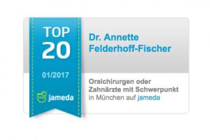 Jameda Auszeichnung Top 20 Oralchirurgen oder Zahnärzte mit Schwerpunkt in München